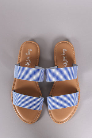 Sunny Feet Printed Double Band Slide Flat Sandals - LABELSHOES
