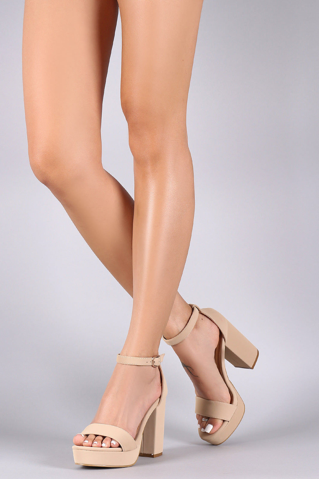 Bamboo Nubuck Ankle Strap Chunky Platform Heels - LABELSHOES