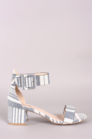 Qupid Striped Weaved Ankle Strap Low Block Heel - LABELSHOES