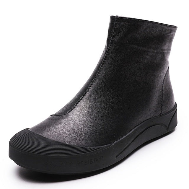 Black leather flat ankle boots