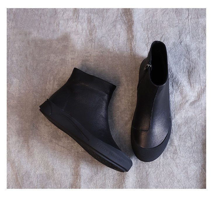 Black leather flat ankle boots with fur