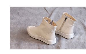 Beige leather flat ankle boots