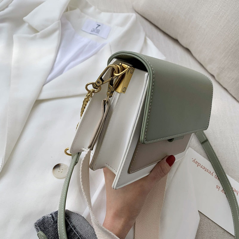 Multicolor Green Boxy Crossbody Bag