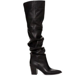 Black over the knee heeled leather boots