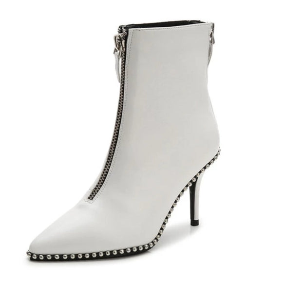 White heeled ankle boots with zippers