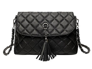 Black Crossbody Bag With Tassel - LABELSHOES