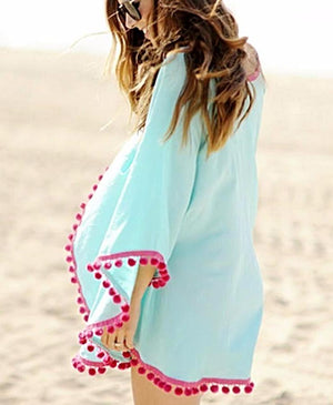Blue Long Sleeves Coverup - LABELSHOES