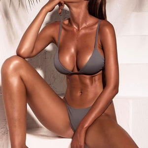 Grey Low-waist Bikini Set - LABELSHOES