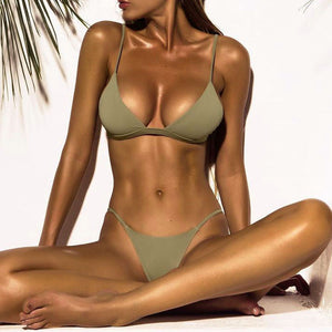 Olive Low-waist Bikini Set - LABELSHOES