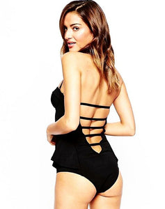 Black Ruffles One Piece Swimsuit - LABELSHOES
