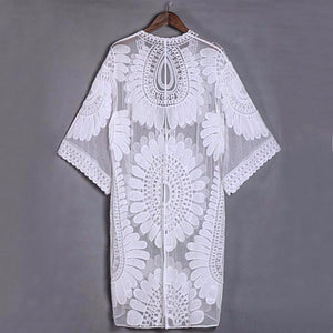 White Lace Crochet Tunic Coverup - LABELSHOES