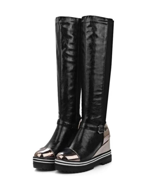 Black platform knee-high boots