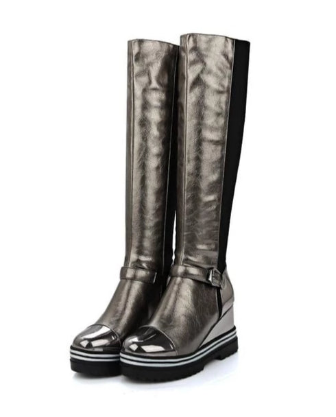 Grey metallic platform knee-high boots