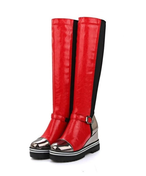 Red platform knee-high boots