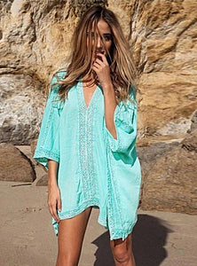 Aqua-blue Lace Coverup - LABELSHOES