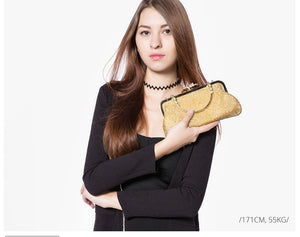 Gold Sequined Evening Clutch - LABELSHOES
