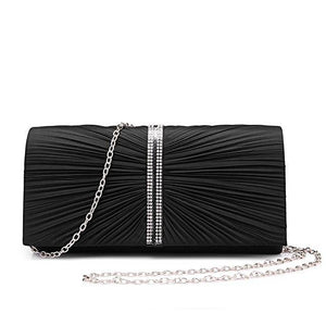Black Pleated Clutch - LABELSHOES