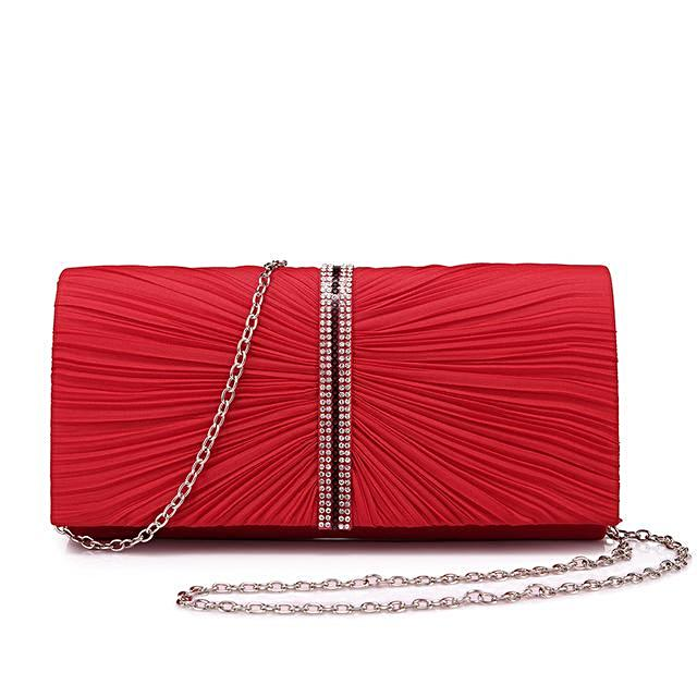 Red Pleated Clutch - LABELSHOES