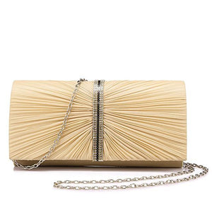Gold Pleated Clutch - LABELSHOES