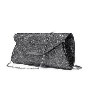 Gray Sequined Clutch - LABELSHOES