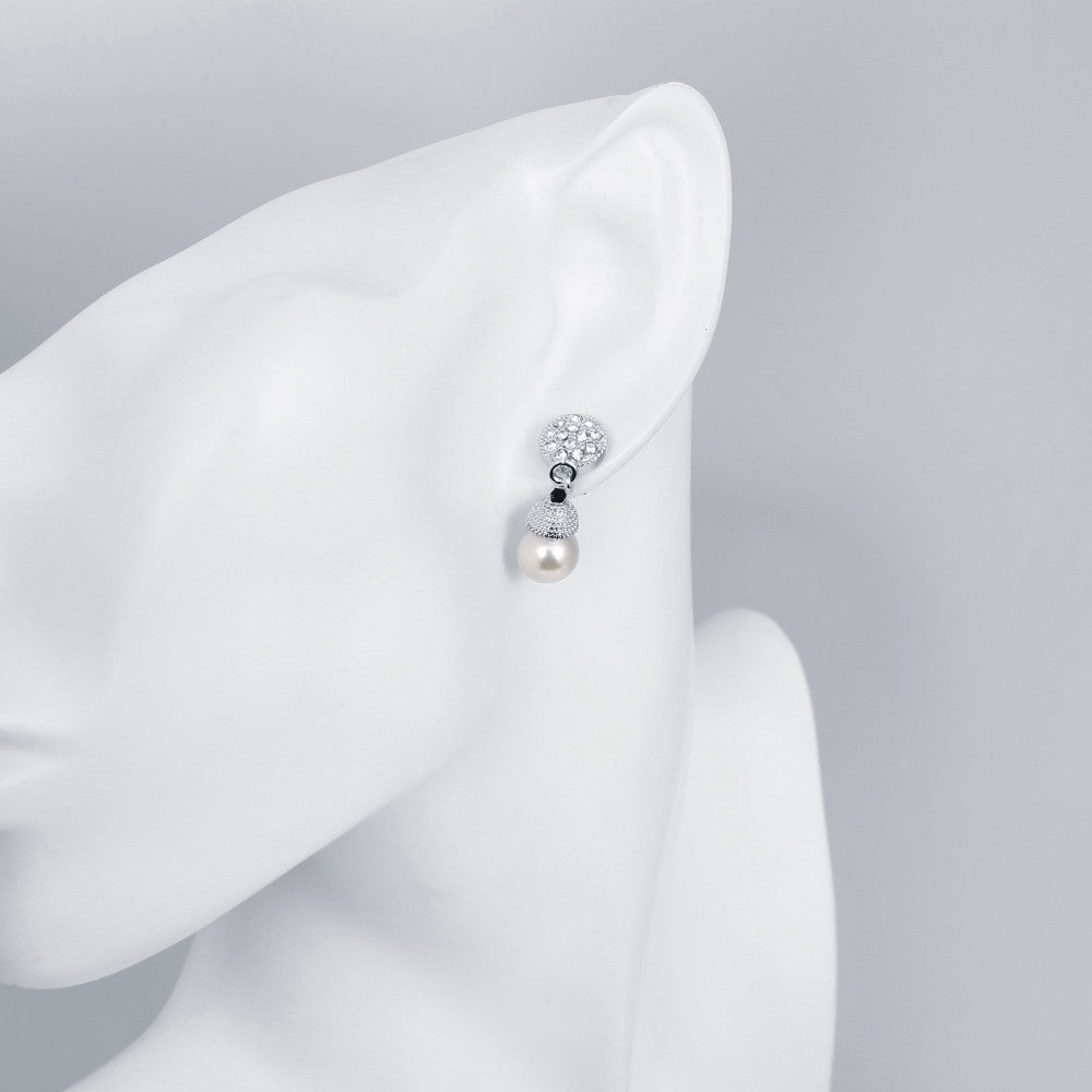 18K White Gold Plated Pearl Drop Earrings - LABELSHOES