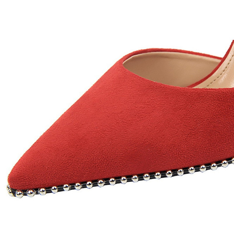Red beads-embellished slingback pumps
