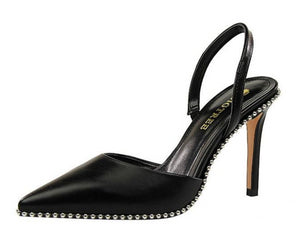 Black beads-embellished slingback pumps