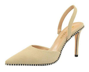 Taupe beads-embellished slingback pumps