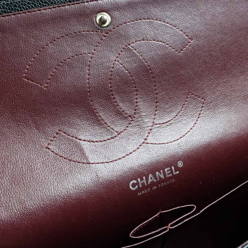 Chanel Black Classic Jumbo Double Flap In Caviar Leather - BABRA - PRELOVED LUXURY
