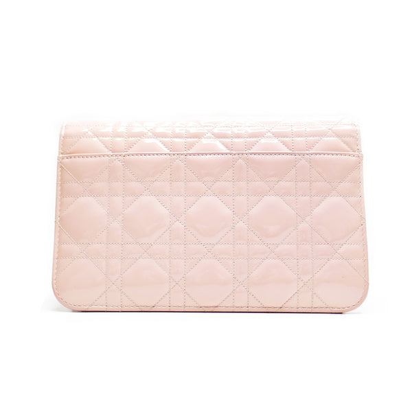 Miss Dior Promenade Cannage Quilt petent large in poudre rose - BABRA - PRELOVED LUXURY
