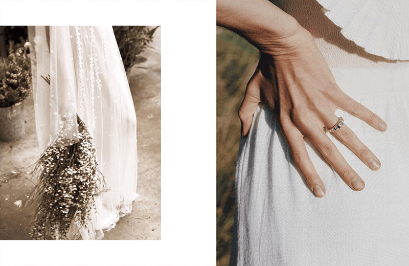 Two photographs aside: 1. Bride on her wedding dress, holding her bouquet; 2. wedding gold ring.