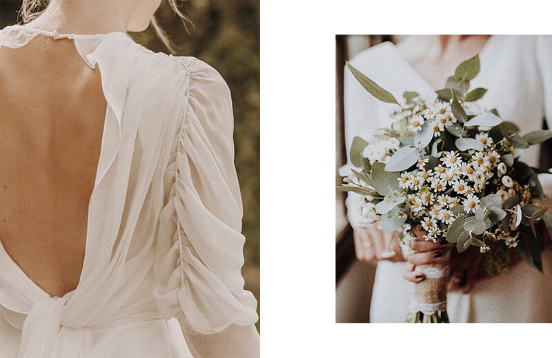 Two photos aside: 1. Wedding dress back detail; 2. Bride's natural wild flowers bouquet.