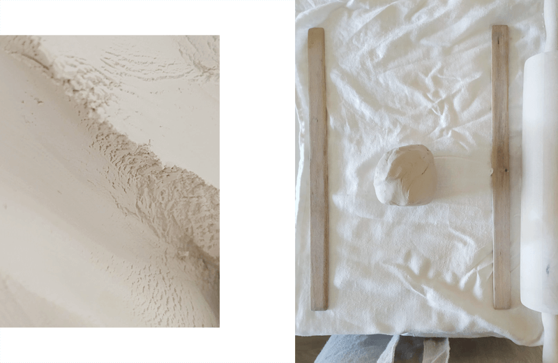 Two images aside: 1. Porcelain texture. Soft; 2. Clay workshop space.