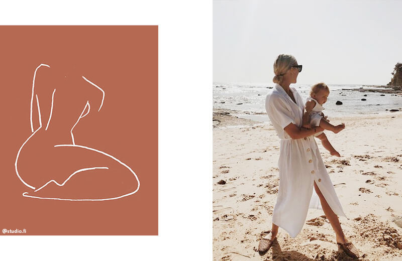 White line illustration; Mother with her baby walking on the beach.