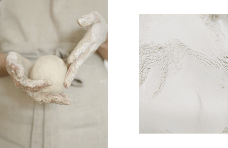 Two images: 1. Hands holding a raw ceramic ball ready to be moulded; 2. Close-up of the porcelain texture. Delicate and smooth.