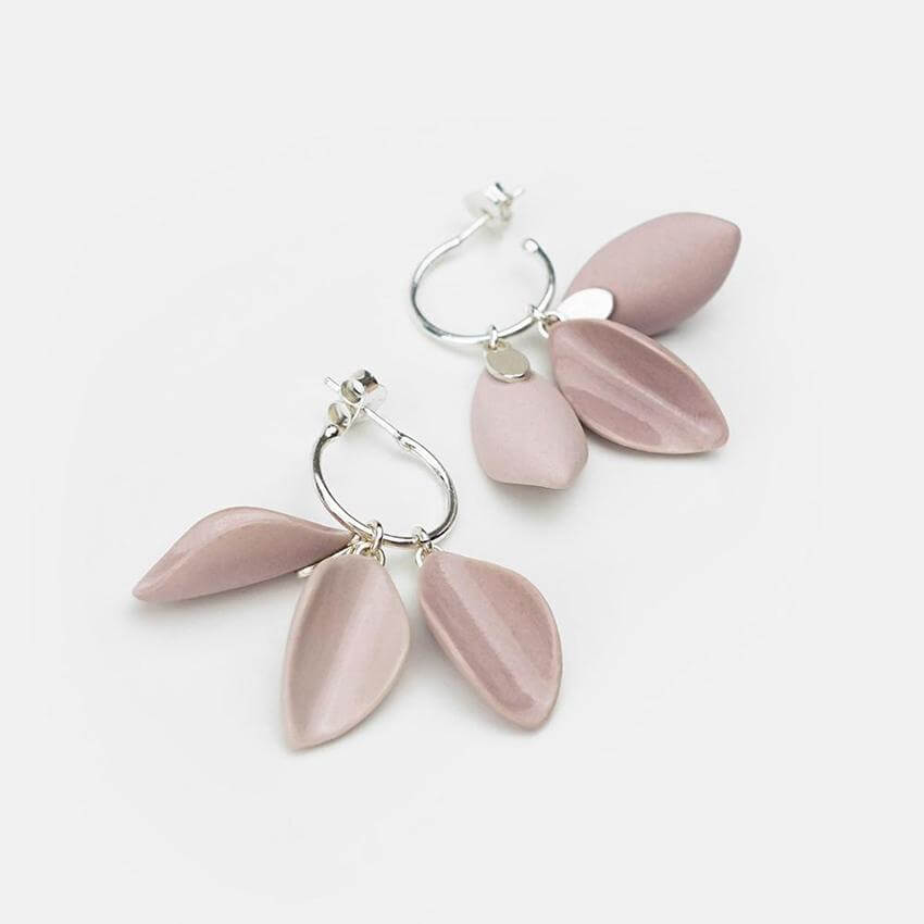 Delicate porcelain earrings. Statement earrings with a gloss glaze finishing. Silver hoops.