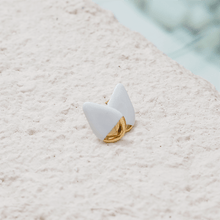 Load image into Gallery viewer, White and gold porcelain earrings. The perfect gift for her.