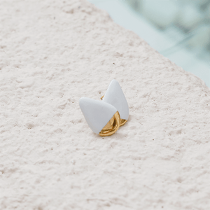 White and gold porcelain earrings. The perfect gift for her.