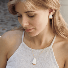 Load image into Gallery viewer, Jewelry set: handmade earrings and necklace made of white porcelain. Perfect to uplight you outfit.