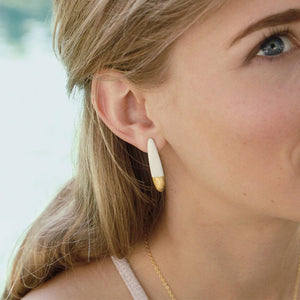 Delicate white porcelain earrings. Fine and exclusive design. The perfect bridesmaid's gift idea.