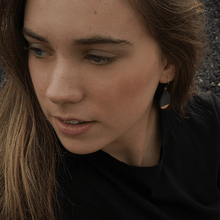 Load image into Gallery viewer, Black clay earrings. Handmade minimal gift, perfect for summer days.