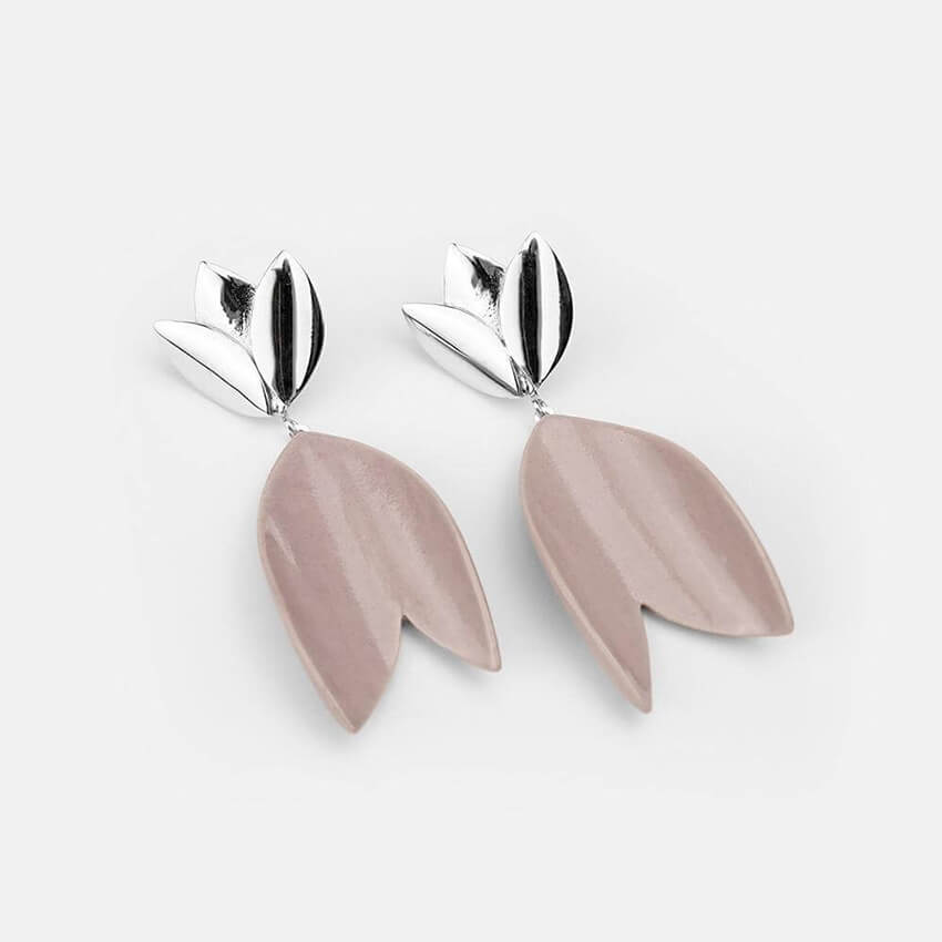 Contemporary lavender porcelain earrings close-up. The perfect gift for Valentine's Day.