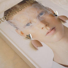Load image into Gallery viewer, Handmade porcelain artwork. Silver and lavender earrings. A delicate token for her.