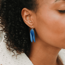 Load image into Gallery viewer, Classic statement strong blue earrings, hand-painted with transparent glaze. Exclusive design.
