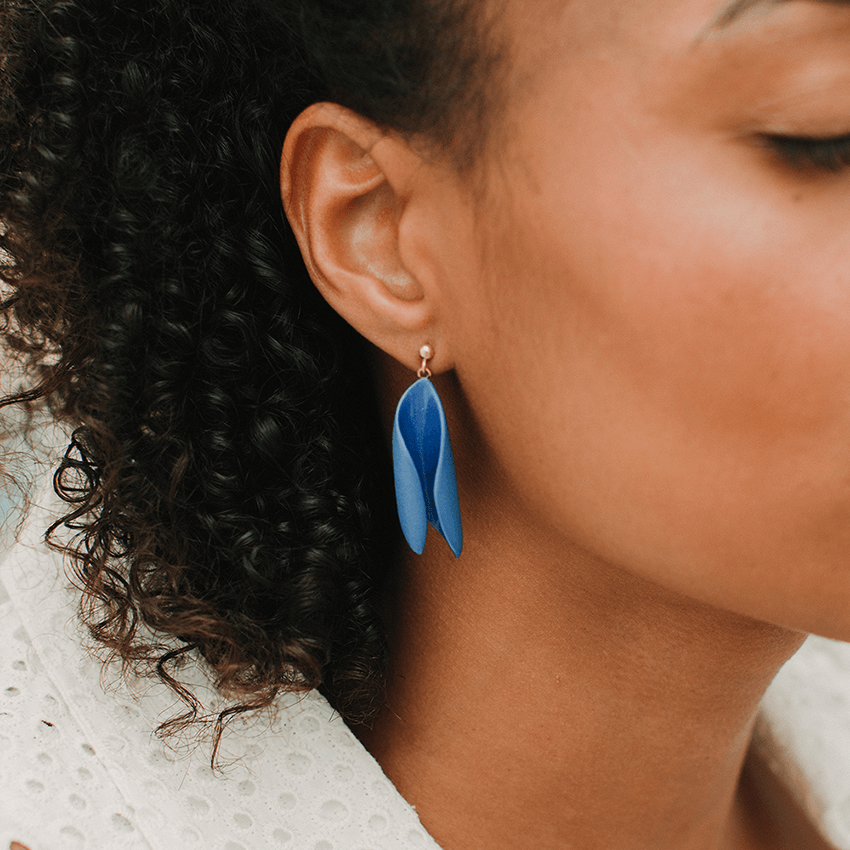 Classic statement strong blue earrings, hand-painted with transparent glaze. Exclusive design.