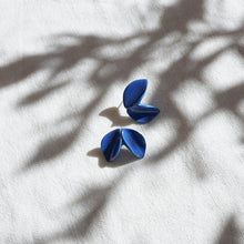 Load image into Gallery viewer, Floral shape strong blue porcelain earrings. Handmade artwork from Portugal.