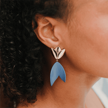 Load image into Gallery viewer, Woman wearing strong blue ceramic earrings. Minimalist clay artwork. Handcrafted gift for her.