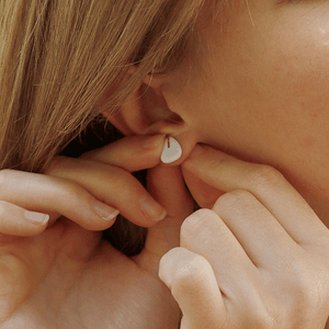 White clay earrings handmade with love. Tiny delicate earrings to uplight your outfit. Perfect gift for her.