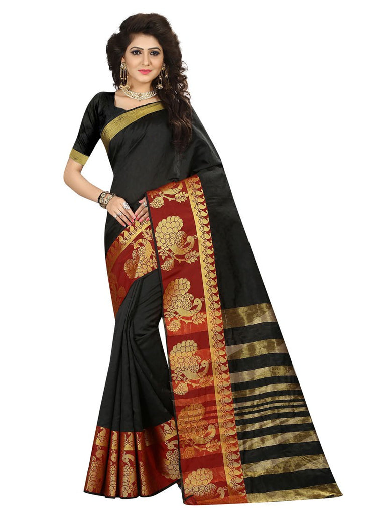 a949336689a Latest Black Maroon Color Poly Silk Saree With Blouse – Shopping Mantri