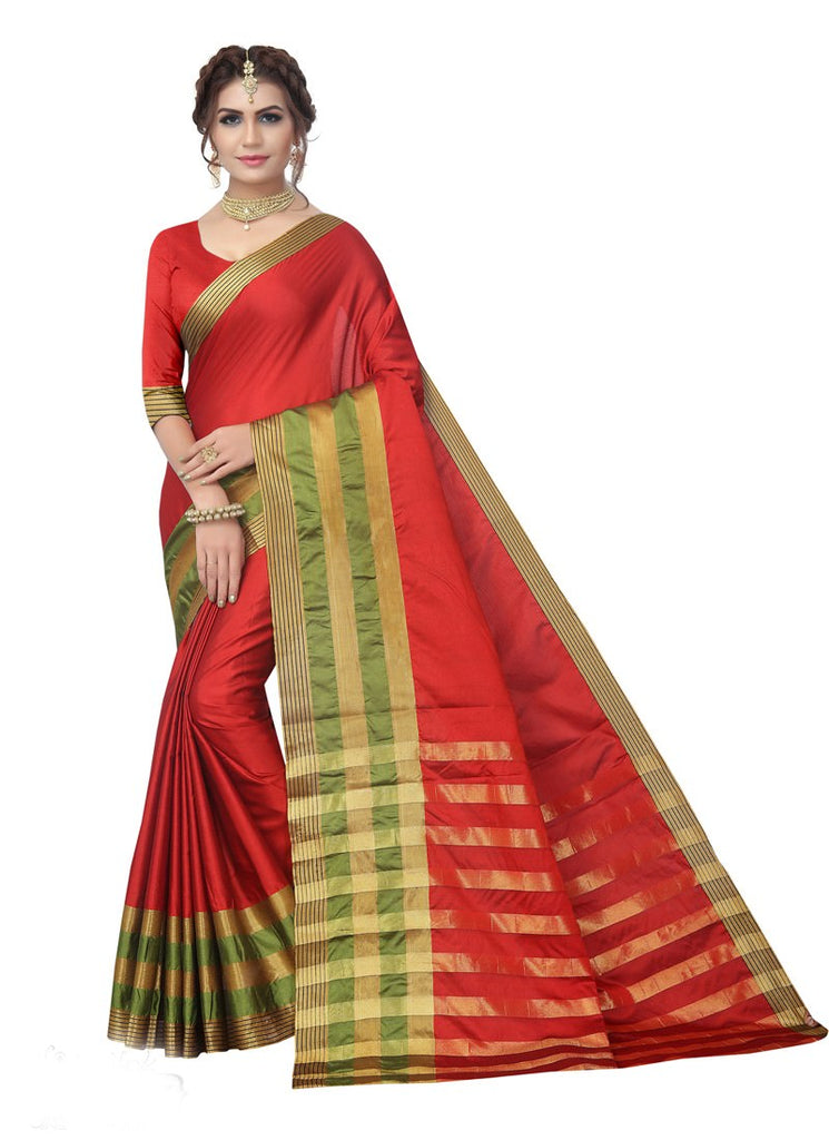 6adcbedf369 Maroon Green Color Poly Silk Saree With Blouse – Shopping Mantri